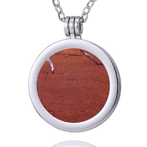 Morella Mujeres Collar 70 cm Acero Inoxidable y Colgante con Coin Moneda Amuleto de Piedra Preciosa Gema Jaspe Rojo 33 mm Plato de Chakra en Bolsa de joyería