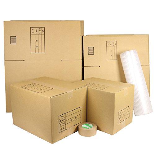 ダンボールキング ダンボール 段ボール 引っ越し セットM 段ボール箱 大10枚 中10枚 計20枚、プチプチ、クラフトテープ 自社工場直送 オリジナル 強化 ダンボール箱 (M)