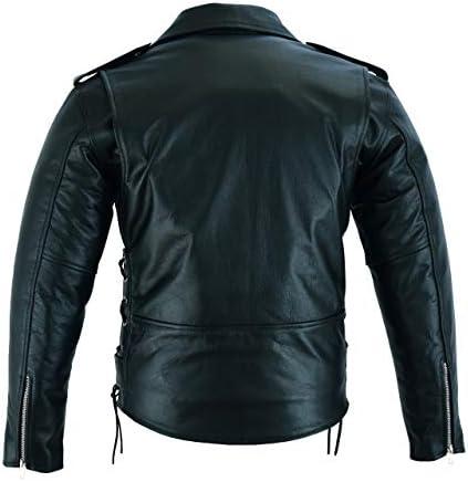 BUSA The Brando Rindsleder Leder Classic Vintage Motorrad Jacke Schwarz Gr/ö/ße L 101cm Bikers Gear