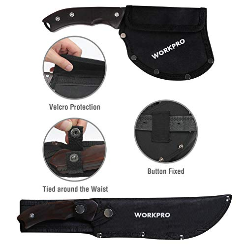 WORKPRO Axe and Fixed Blade Knife Combo Set, Full Tang, Wood Handle, for Outdoor Camping Survival Hunting, Nylon Sheath Included