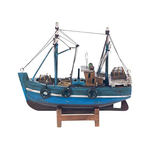 Vidal Regalos Figura Decorativa Barco Pesquero Azul Adorno Maqueta Miniatura Pesca 16...
