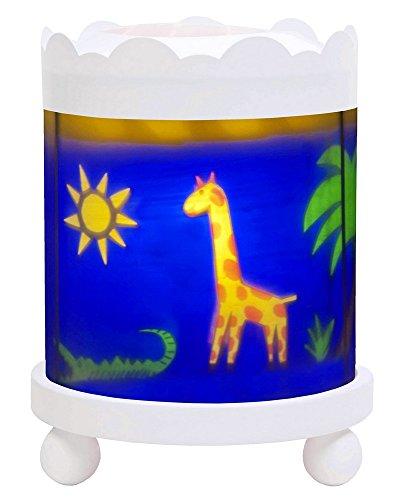 Trousselier - Dschungel - Nachtlicht - Magisches Karussell - Ideales Geburtsgeschenk - Farbe Holz weiß - animierte Bilder - beruhigendes Licht - 12V 10W Glühbirne inklusive - EU Stecker