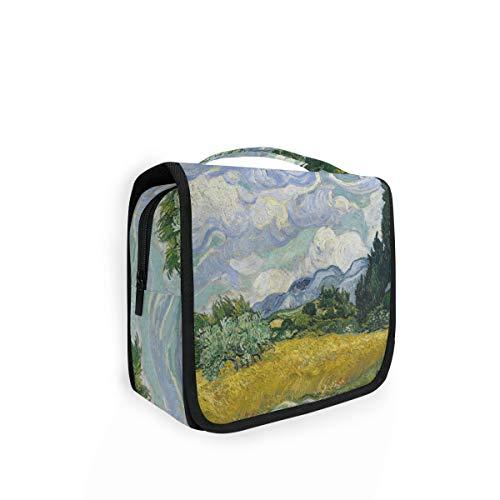 XIXIKO Bolsa de aseo colgante para furgonetas de campo de trigo, bolsa de viaje, organizador plegable, para maquillaje, para mujeres, niñas, señora