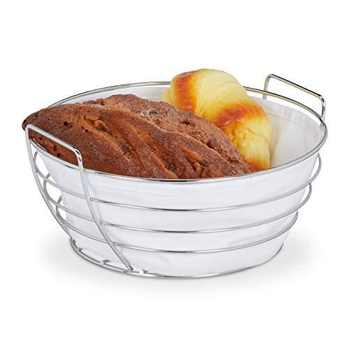 Relaxdays Brotkorb Metall, mit entnehmbarem Stoffeinsatz, rund, Frühstückskorb für Brot & Brötchen, Ø 23 cm, weiß