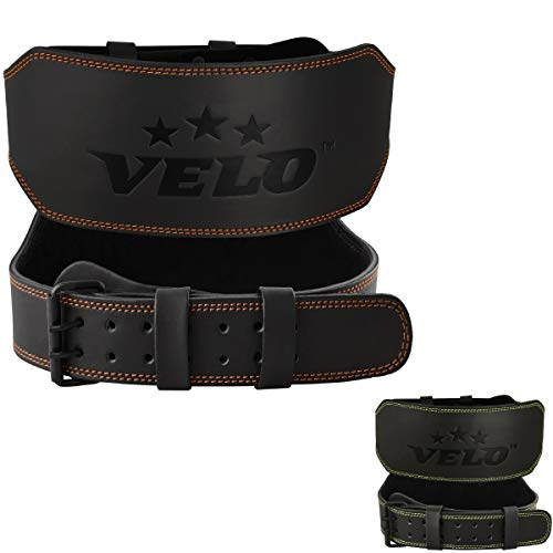 VELO Power Weight Lifting Buffalo Hide 6' Leather Belt Gym Back Support Strap Training Fitness Exercise for Tough Workouts | Power Lifters | Supports Lumber Lower Back (Orange-Black, M)