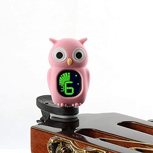 Merlins chromatisches Kinder-Stimmgerät/Tuner Eule für Gitarre Bass Ukulele Violine Cello mit Clip(rosa)