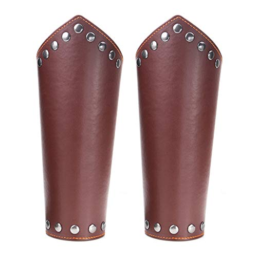VIccoo Leather Guards, 2 Pack Faux Leather Arm Guards Medieval Knight Bracers Leather Gauntlet Wrist - Brown