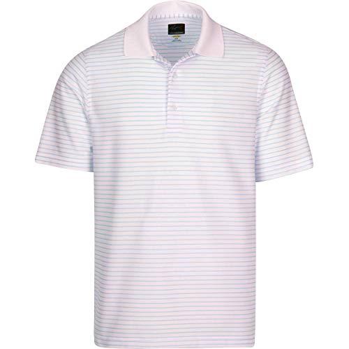 GREG NORMAN Herren Poloshirt Protek Micro Pique gestreift, Herren, kurzärmelig, Protek Micro Pique Stripe Polo, Weiß/Blauer Nebel, Large