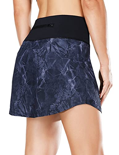 BALEAF Women's High Waisted Tennis Skirts Quick Dry Running Skorts Skirts with Zipper Pocket for Golf Printed 2 Large