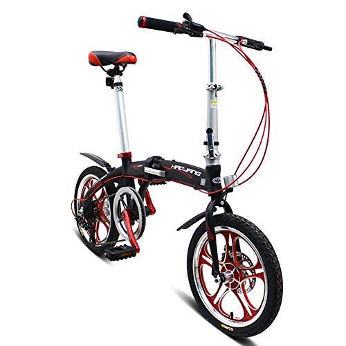 Grimk Citybike Damen Herren 16 Zoll Klapprad Faltrad Aluminium Leicht Falträder Klappräder Männer Faltbar Fahrrad Erwachsene Mit Kinder Unisex Klappfahrrad Urban Bike,Black
