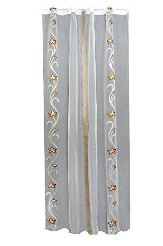 Gardine, Vorhang, Schlaufenschal, Store Maßanfertigung in Weiss Transparent mit Gold-Braunem Rankenmotiv Höhe: 210cm, Breite:freiwählbar (210x1000cm)