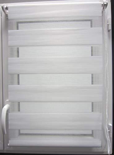 MadeInNature Store fenêtre Enrouleur Jour-Nuit, 4 Couleurs et 30 Tailles, Pose Rapide et Facile sans perçage, de (Largeur Tissu Store 35 cm x Longueur 180 cm, Blanc)