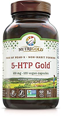 Nutrigold 5-htp 100mg, 120 Vegetarian Capsules - The Gold Standard Pure 5-Htp Extract Guaranteed Free of Harmful Peak-x, Gmos, & Allergens