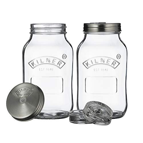 Kilner Fermentier Set, 2 Gläser á 1 Liter Fermentierglas, Transparent, 10 x 10 x 18 cm