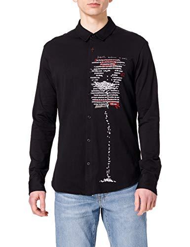 Desigual CAM_Aaron Camiseta, Negro, L para Hombre