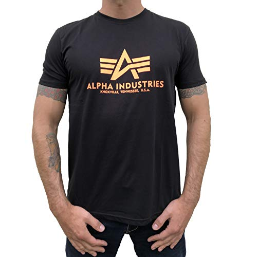 Alpha Industries T-Shirt Basic schwarz weiß blau braun grün Olive Burgundy gelb (L, Black/Neon Orange)