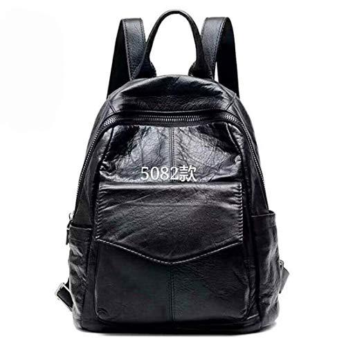 Daypacks Echtes Leder Rucksack Retorten Purse Rind Mädchen Leichtgewichtler große Kapazitäts-Schwarz-Frauen-Rucksack (Farbe : Schwarz, Size : Einheitsgröße)