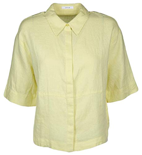 Opus Damen Friedi Linen Bluse, Fresh Lemon, 36