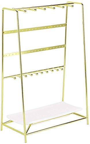 LIUJING Schmuckständer mit Tablett, Größe 25,9 x 14 x 39,9 cm, robust (Farbe: Gold)