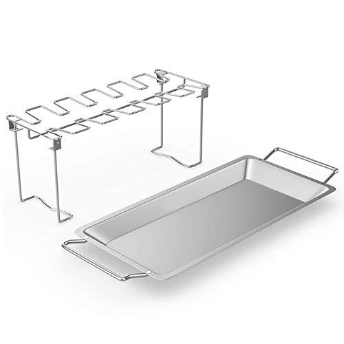 Heoolstranger Grill kippenvleugel rek - Grill kippenbeen rek, grillhouder met opvangbak, keukenhulpje oven accessoires