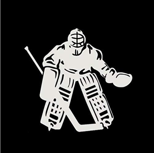 GenericBrands 3 Piezas Etiqueta engomada del Coche 15 * 14,5 CM Jugador de Hockey Vinilo Coche Pegatinas patrón calcomanías Blanco