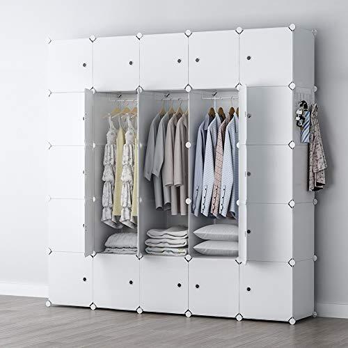 YOZO Portable Wardrobe Closet Modular Dresser Garment Rack Polyresin Clothes Storage Organizer Bedroom Armoire Cubby Shelving Unit Dresser Multifunction Cabinet DIY Furniture White 25 Cubes