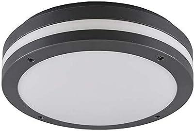 Reality Leuchten R62151142 - Plafoniera LED da esterni Kendal, in plastica, 12 W, colore: Antracite/Bianco