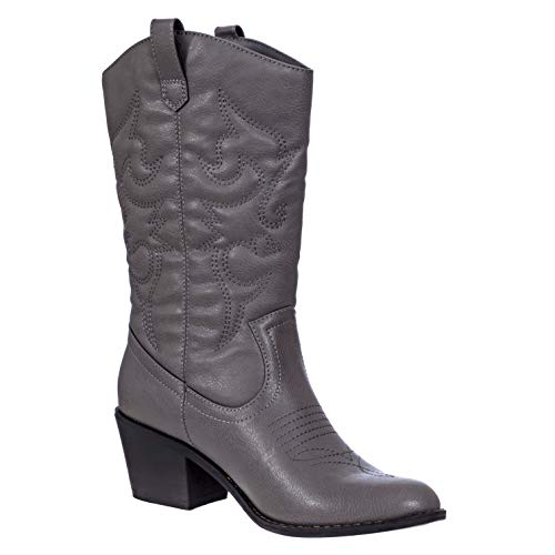 Charles Albert Women's Embroidered Modern Western Cowboy Boot in Grey Size: 10