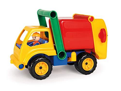 Lena 04356 Aktive Müllwagen LKW, Müllfahrzeug ca. 30 cm, robustes Müllauto mit verriegelbarem Müllbehälter, 1 Mülltonne und beweglicher Spielfigur im Spiele Set, Spielfahrzeug für Kinder ab 2 Jahre