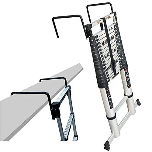 Escalera telescópica de 5 m / 6,2 m / 7 m / 8 m con barra estabilizadora y ganchos,escalera de extensión de aluminio profesionalpara trabajospesados,tejados / mantenimiento de edificios (tamaño