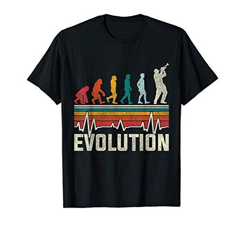 Herzschlag Trompete Retro Musiker Evolution Geschenk Vintage T-Shirt