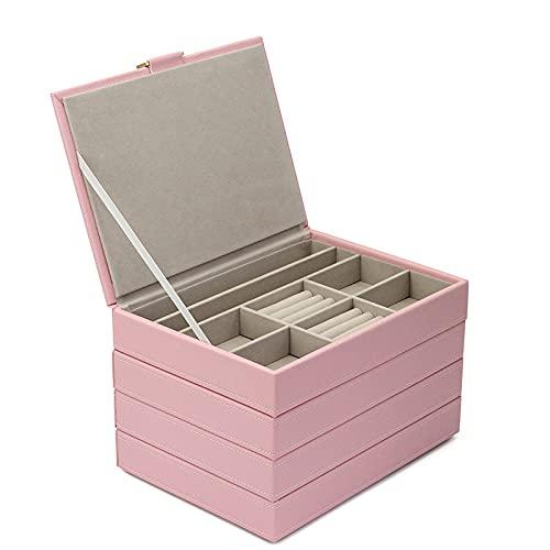 Wilany Joyero de piel sintética para joyas con cierre para pendientes de gota y collares con cajones de almacenamiento, caja de regalo para niñas y mujeres