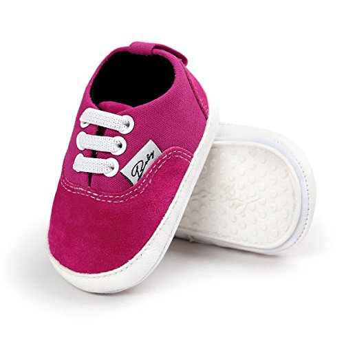 Baby Boys Girls Canvas Shoes Premium Soft Sole Infant Basic Sneakers Toddler First Walkers (0-6 Months Infant, C-Rose)