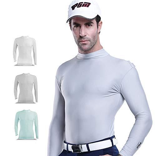 Mhwlai Golf T-Shirt Slim, Herren Slim Sport Casual Ice Silk Langarm Shirt mit Boden Golf Bekleidung Cool Outdoor Sonnenschutz Bekleidung,Blau,L