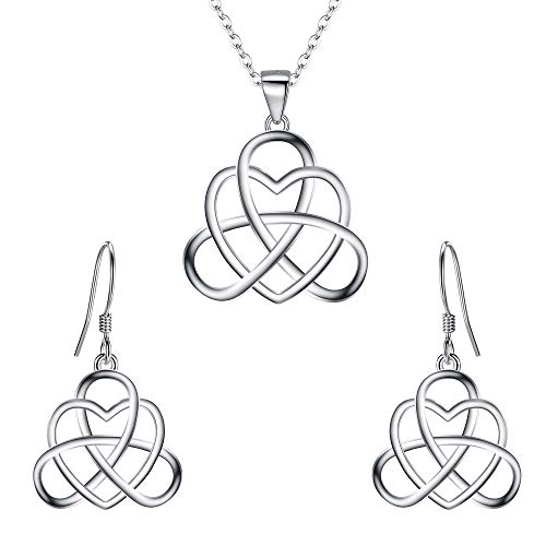 BriLove Women's 925 Sterling Silver Vintage Irish Celtic Triquetra Knot Heart Pendant Necklace Dangle Earrings Jewelry Set