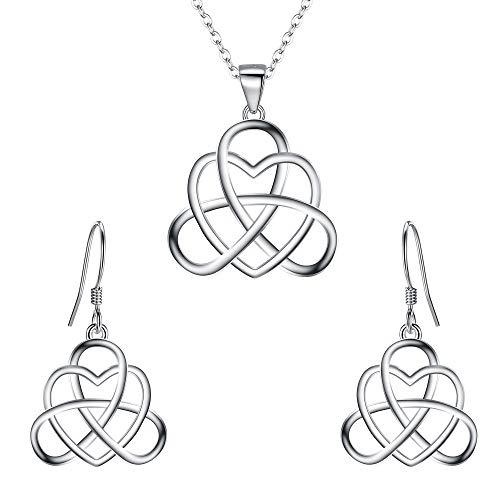 BriLove Women's 925 Sterling Silver Vintage Irish Celtic Triquetra Knot Heart Pendant Necklace Dangle Earrings Jewelry Set
