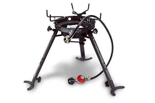 Eastman Outdoors 90411 Portable Kahuna Burner with XL Pot and Wok Brackets with Adjustable and Removable Legs,Black