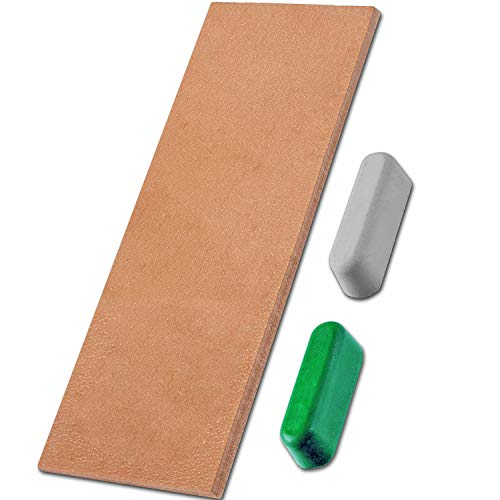 Leather Honing Strop 3 Inch by 8 Inch with 2 oz Green White Polishing Compound 2-Side Vegetable Tanned Leather Knife Stropping for Woodcarving Chisels Razor Chef's knife Polishing Sharpening