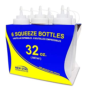New Star Foodservice 26269 Squeeze Bottles Plastic Wide Mouth with Caps 32 oz Clear Pack of 6
