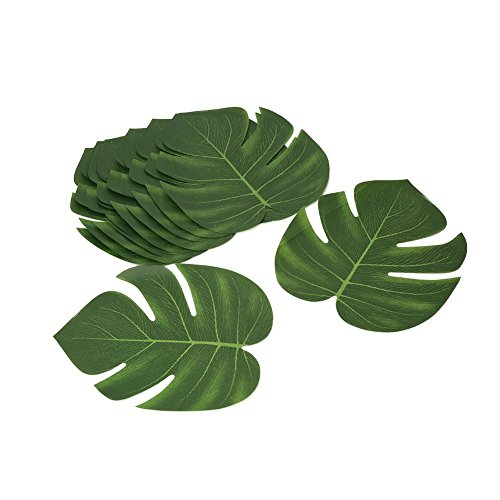 Shintop Artificial Tropical Leaves, Fake Palm Leaves Hawaiian Luau Party Jungle Beach Theme Decorations for Birthday, Wedding, Prom, Events (12pcs)