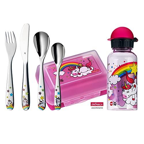 WMF Unicornio - Vajilla para niños 6 piezas, incluye fiambrera, cantimplora y cubertería...