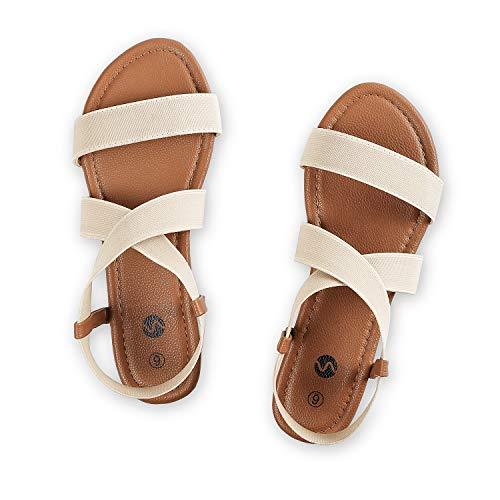Rekayla Flat Elastic Sandals for Women Beige 05
