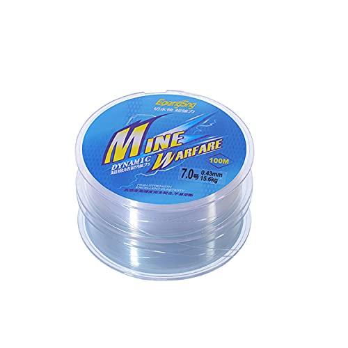 VOSSOT Sedal de pesca monofilamento, hilo de nailon de alta tensión, 0,43 mm/100 m, tranparente, monofilamento, agua salada, agua fresca para pesca de trucha, lucio, carpas, etc.
