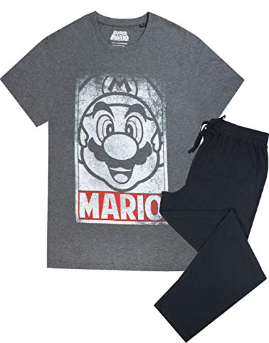 Super Mario Poster Herren Schlafanzug Kurzarm T-Shirt & Lounge Hose Set Gr. M, grau
