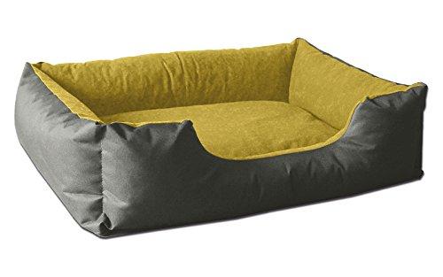 BedDog® Hundebett LUPI, Hundesofa aus Cordura, Microfaser-Velours, waschbares Hundebett mit Rand, Hundekissen Vier-eckig, für drinnen, draußen, M, Yellow-Rock, grau-gelb