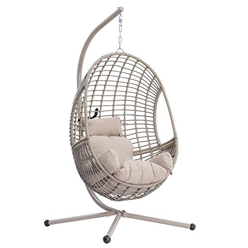 Rattan Egg Chair with Cushion, Backrest and Strong Aluminum Stand, Wicker Hanging Chair for Indoor/Outdoor UV Proof Swing Hammock Lounging Chairs for Garden Backyard, Balcony Poolside, Easy Assembly