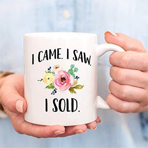 "Taza con texto en inglés ""I Came I Saw I Vendid"", regalo para agente inmobiliario, regalo para agente inmobiliario, regalo de ventas"