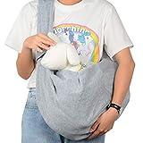 PETLOFT Bolso Bandolera Transportín, Reversible Bolso Porta Mascotas Sling, No Ajustable Bolsa de Hombro Cruzada para Perro con Gancho de Collar para Perros/Gatos/Conejos de hasta 11 Libras - Gris
