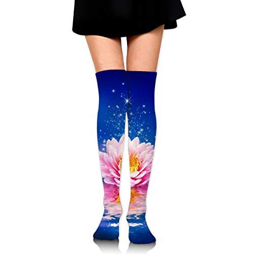 Hermosa flor mágica en el agua calcetines casuales mujeres y hombres caliente gruesa rodilla alta largo tubo medias