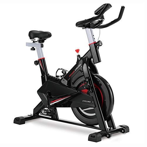 JIAYUAN Gimnasio profesional de interior para bicicleta estática con volante de inercia de 40 libras, soporte para iPad, cojín suave, pantalla LCD, correa de transmisión suave y silenciosa